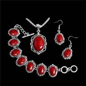 Jewelry - Red and silver necklace earring and bracelet set